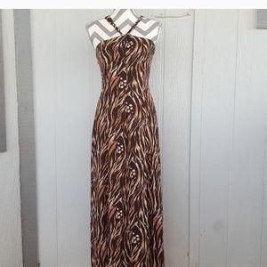 Animal Print Zebra Black Brown Flowy Maxi Dress